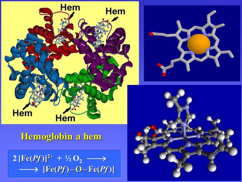 Hemoglobin a hem Hemoglobin a hem  [Fe(Pf ) – O – Fe(Pf )]